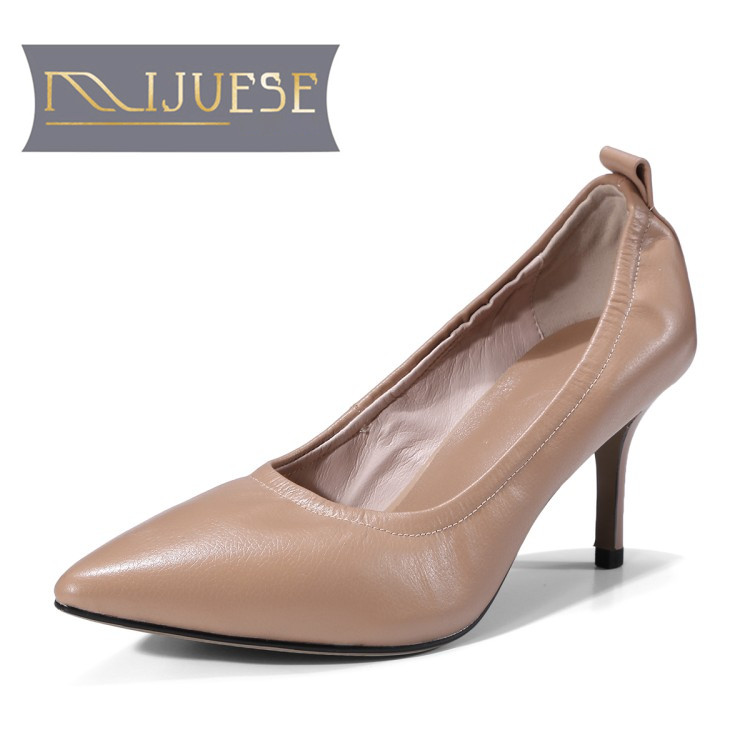 MLJUESE 2018 women pumps Cow leather pointed toe slip on camel color thin heel high heels pumps women size 34-39 ...