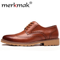 Merkmak Leather Brogue Business Formal Dress Men Shoes Classic Office Wedding Mens Oxfords Shoes Casual Italian Brand Desinger