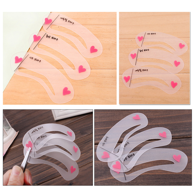 Women's Fashion Eyebrow Stencils Eyebrow Template Eye Brow Card Grooming Stencil Kit Shaping Shaper Make Up DIY Tools Makeup Set 4