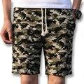 2017 Summer Floral Activo Hasta La Rodilla de Playa Pantalones Cortos Pantalones de Chándal de Los Hombres de Moda Casual Delgado Encaja Cortos Bermudas Masculina