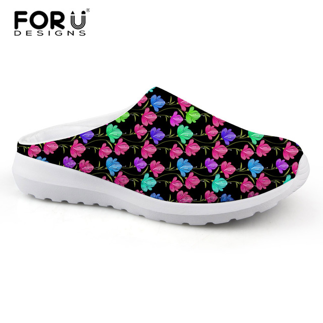 2118ebfc8339 FORUDESIGNS Casual Women Sandals Vintage Floral Printed Fashion Summer Women s  Slippers Beach Mesh Shoes Teen Girls Sandals