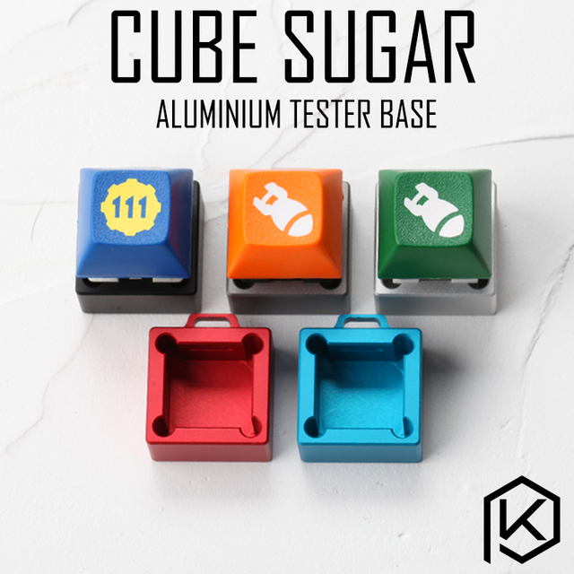 US $8 9 |cube sugar aluminum Switch Tester base housing 1X1 silver red blue  grey for black red brown blue RGB SMD for Mechanical Keyboard-in Keyboards