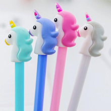 Teenage Style Unicorn Shape Gel Pen DIY Office Stationery and School Supplies Smooth Writing Black and Blue Ink 0.5mm Pen 1PCS цена