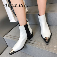 AIKELNYU Brand White Black Cow Leather Boots 2019 Autumn Women Ankle Boots Sexy Pointed End Mixed Colors Female Knight Boots