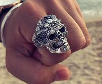 Sterling S925 silver rings 925 skull vintage trendy ring 32*23mm