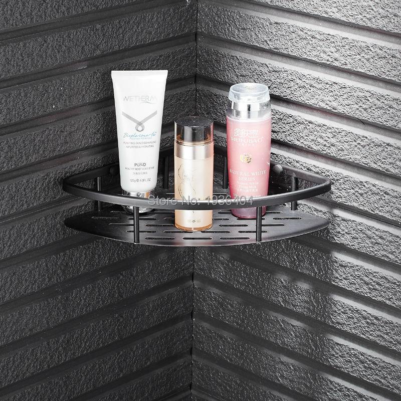 Bath Shower Shelf Soap Basket Black Finished Wall Mounted Basket Rack BS3235