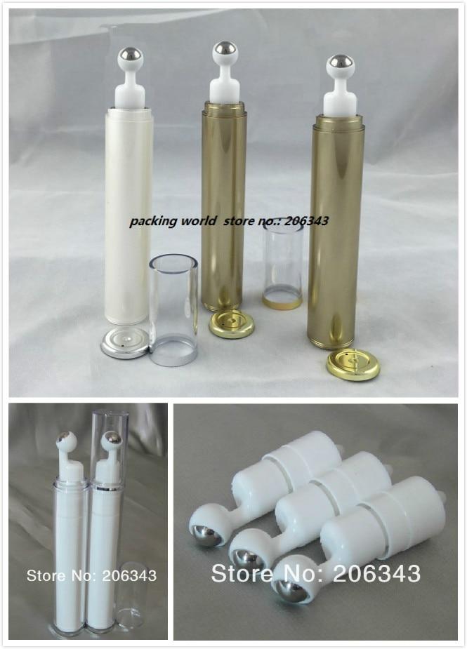 15 ml blanco / oro botella de loción de plástico para crema de ojos - Herramienta de cuidado de la piel