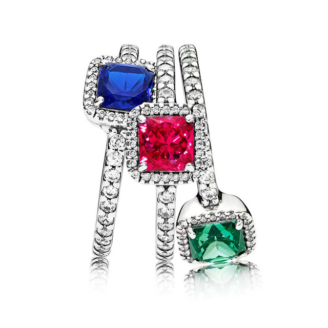 9369928f7 New 925 Sterling Silver Ring Blue Green Red Timeless Elegance Rings With  Crystal For Women Wedding Gift Fine Pandora Jewelry