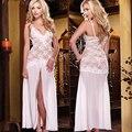 Alta Qualidade Plus Size Sleepwear Longo Branco Seduzir Sexy Lingerie com T-back Festa de Sexo Erótico Desgaste Da Noite