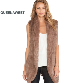 Real Fur Vest Knitted Rabbit Fur Thick Gilet Big Collar Coat With Pocket Open Stitch Women Waistcoat Top Quality фото