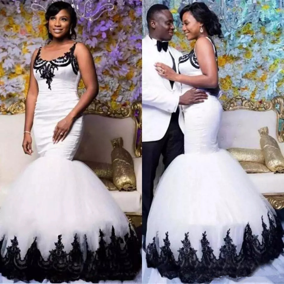 Traditional Wedding Dresses 2019 South Africa: 2019 Modest Black And White Mermaid Wedding Dresses South