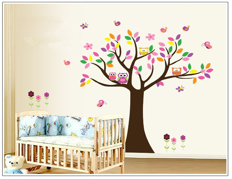 Cute birds owl trees removable wall stickers for kids for Como hacer espejos decorativos