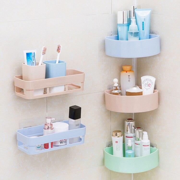 Bathroom shelf wall hanging bathroom free punching toilet suction cup storage tripod