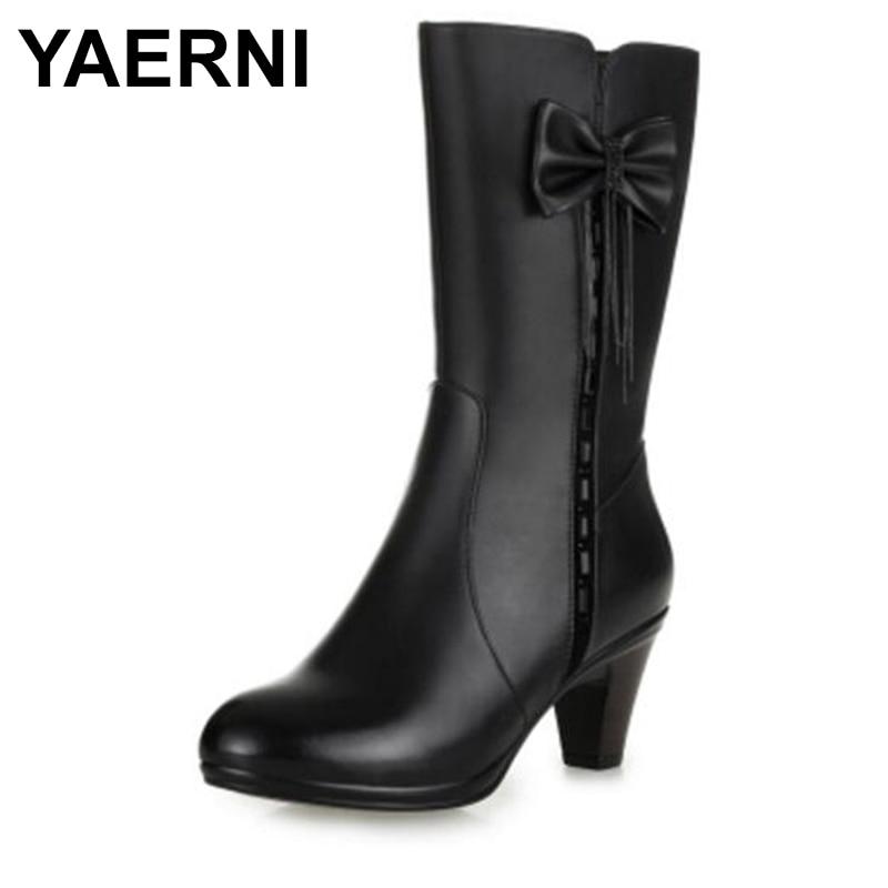 цена на YAERNI Newest Rhinestones Bow real leather boots Winter Shoes Woman plus and wool Snow Boots High Heel shoes Women Boots E308