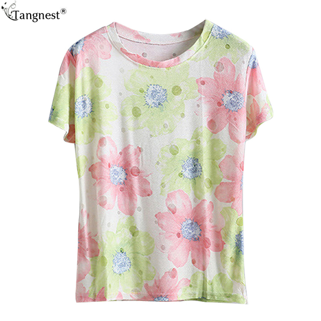 2aebea20b9 US $16.35  TANGNEST Fashion Print Women Summer Tops 2017 Soft Ladies tops  Gray Women Tees Polyester Tees and Tops Green Tops & tees WTS1066-in ...