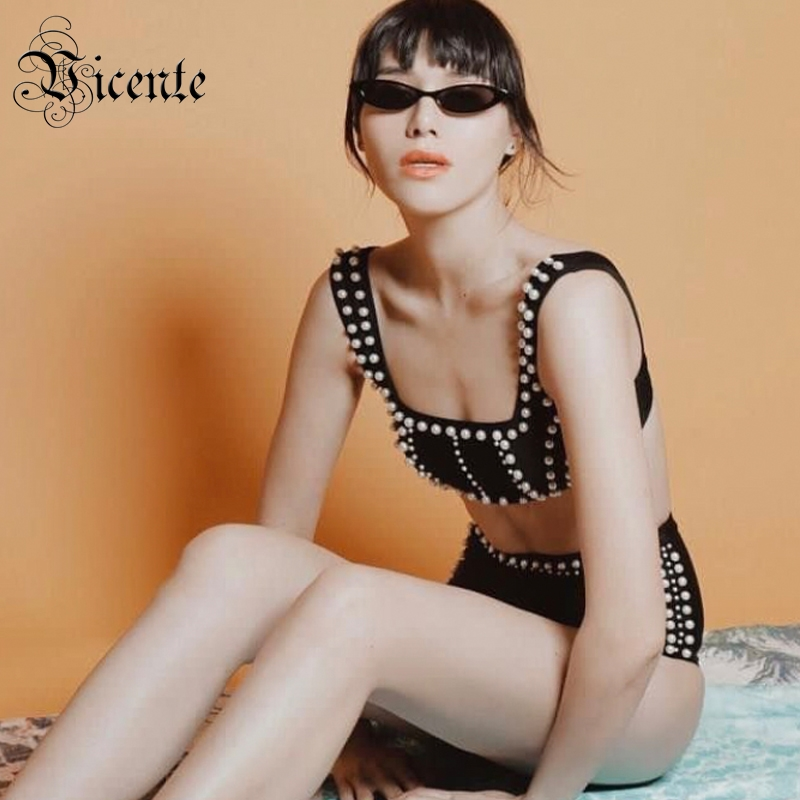 Vicente HOT Chic Pearl Embellished Two Pieces Suit Sexy Sleeveless Wholesale Evening Party Wear Bandage Black
