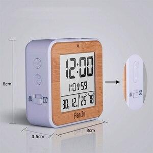 Image 5 - Fanju digital despertador led dcf rádio duplo alarme automático backlight eletrônico temperatura umidade mesa de tempo presente escritório