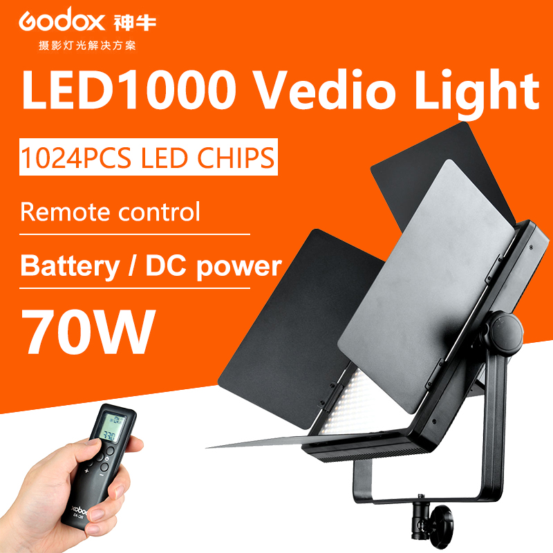 Godox LED1000W 5600K 3300K changeable version Photography Studio Video Led Panel Lighting Remote Control for Camera Camcorder godox professional led video light led1000c changeable version 3300k 5600k new arrival free shipping