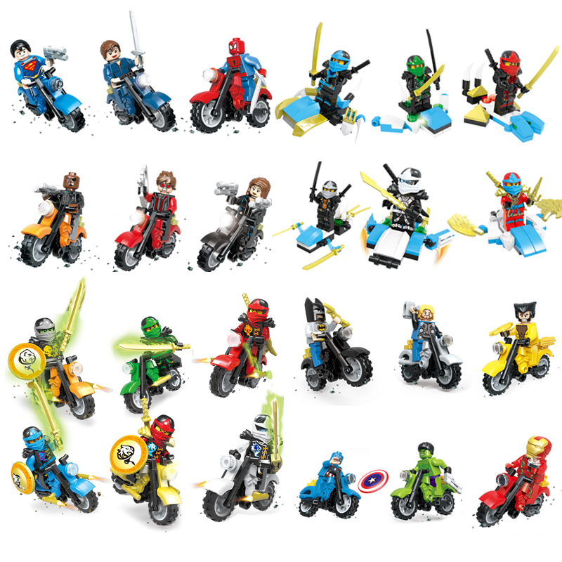 Action Figures 4 Styles 6pcs/set Super Heroes Ninja Iron Man Building Blocks Toy Set Blocks Classic For Boys Gift Kids Toy