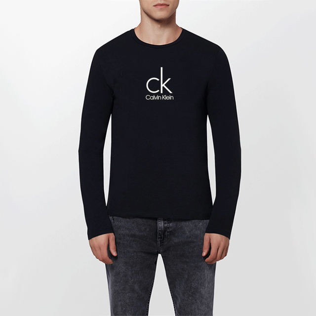 Calvin Klein Jeans / CK Round Neck Slim Long Sleeved T-shirt Men 2017 Autumn New Casual Men's Clothing Letter Print Tops Tees