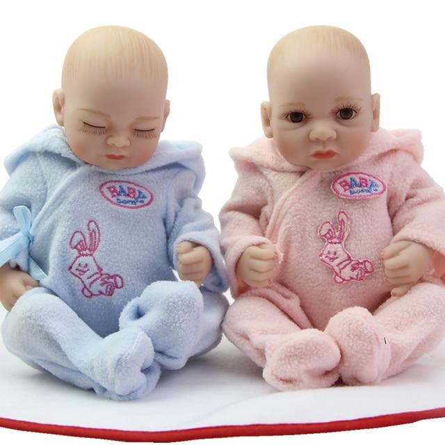 f3ac39b06a5 11 Inch Twins Full Silicone Vinyl Reborn Baby Dolls Real Looking Boy And  Girl Babies Cheap Mini Cute Doll Children Birthday Gift