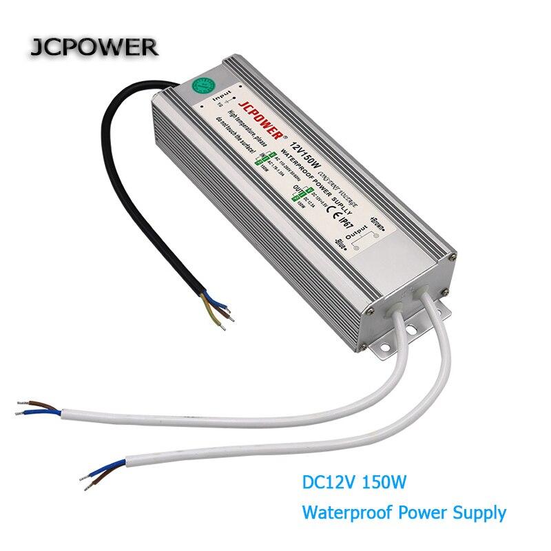 AC100V 110 V 220 V 240 V à dc 12 V 150 W Led conducteur étanche IP67 transformateur d'éclairage d'alimentation pour led bandes lumineuses