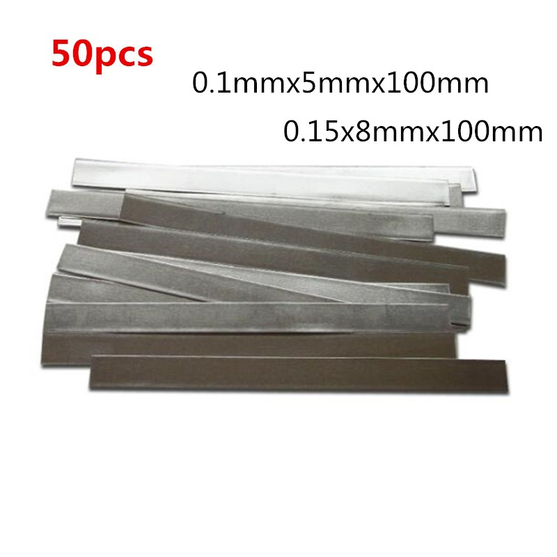 50pcs/lot Low Resistance 99.96% Pure Nickel Strip Sheets For Battery Pack Spot Welding Machine Nickel Strip Cell Connector