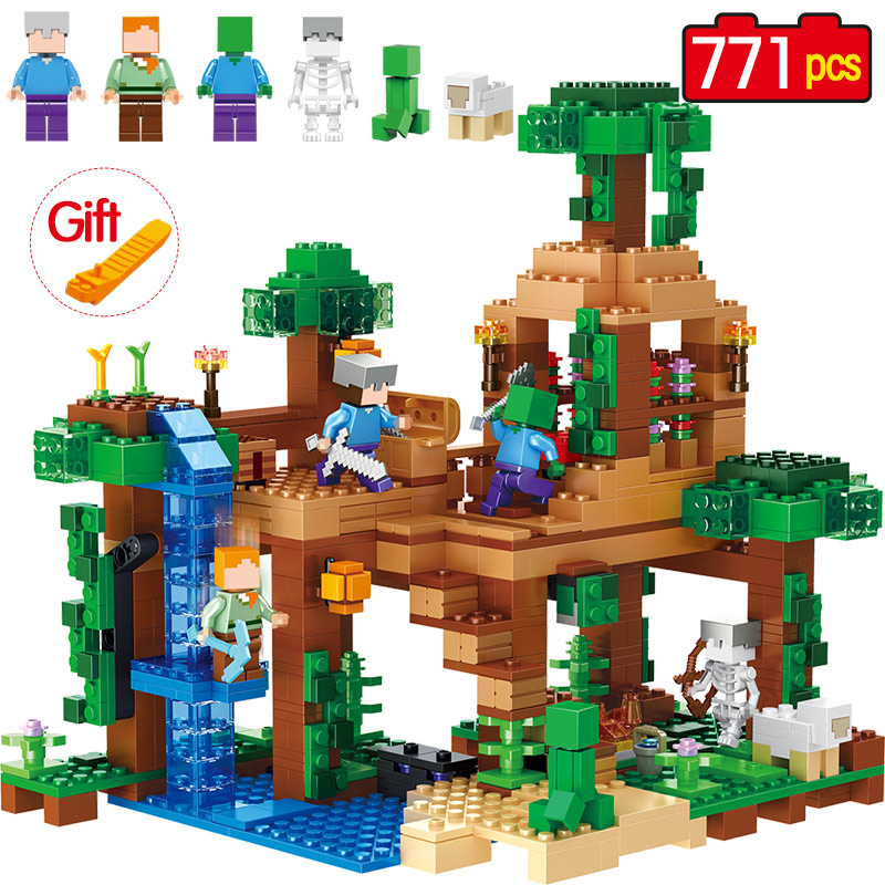 771pcs The Jungle Tree House Minecrafted Building Blocks kids Toys For Children birthday Compatible Legoed Minecrafted 21125 lepin 18003 my world series the jungle tree house model building blocks set compatible original 21125 mini toys for children