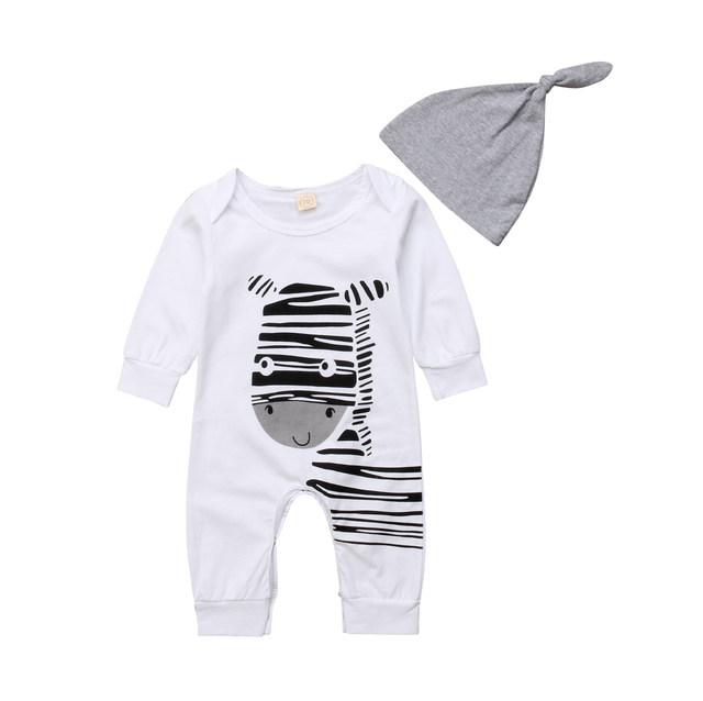 e41b71370736 Emmababy 2PCS Toddler Baby Boy Girl White Zebra Cartoon Pattern Long Sleeve  Fashion Romper+Hat Outfits Clothes 0-18M