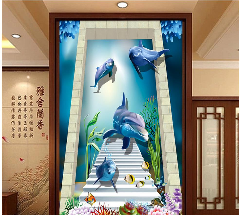 3d Room Wallpaper Home Decoration Stairway Beach 3D Entrance Aisle  Background Wall Wallpaper Modern In Wallpapers From Home Improvement On  Aliexpress.com ...