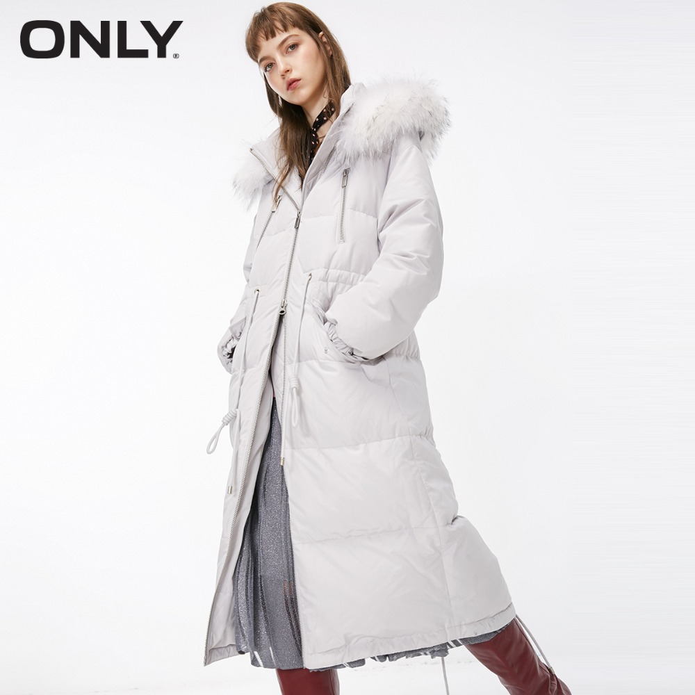 only-womens'-winter-new-multi-pocket-drawstring-long-down-jacket-waist-drawstring-detachable-fur-collar-118312505