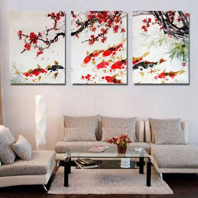 Hd cetak cherry blossom prictue ikan koi lukisan kanvas wall art home decor poster cetak gambar