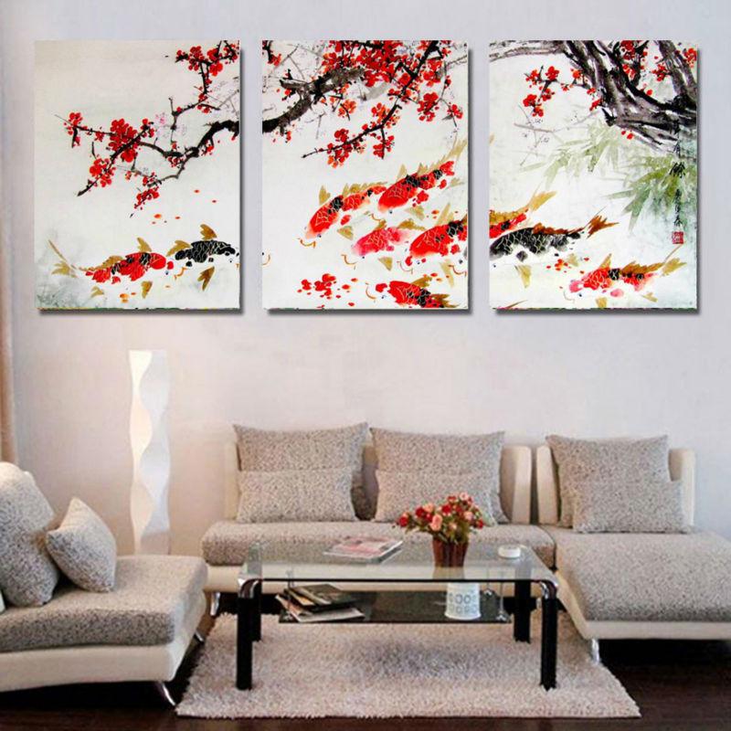 HD Print Cherry Blossom Koi Fish Painting Canvas wall art ...