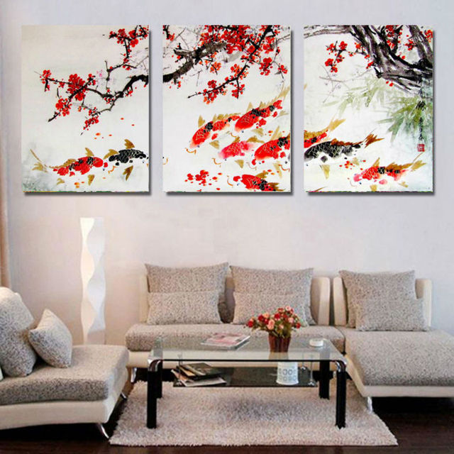 Great HD Print Cherry Blossom Koi Fish Painting Canvas Wall Art Prictue Home Decor  Print Poster Picture