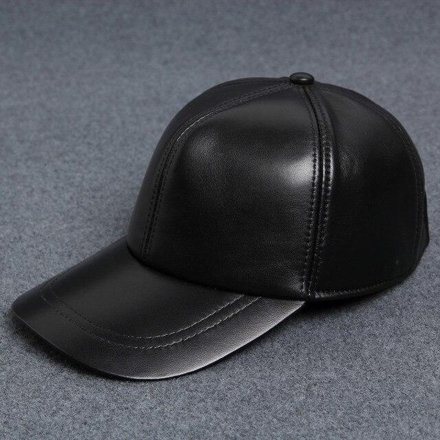 Genuine leather fur cap winter hat baseball cap adjustable black hats for men  B-0571