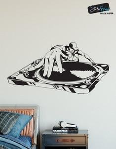 Image 1 - 비닐 벽 스티커 스티커 dj 턴테이블 도시 음악 바 나이트 클럽 학교 기숙사 포스터 홈 아트 디자인 장식 2yy18