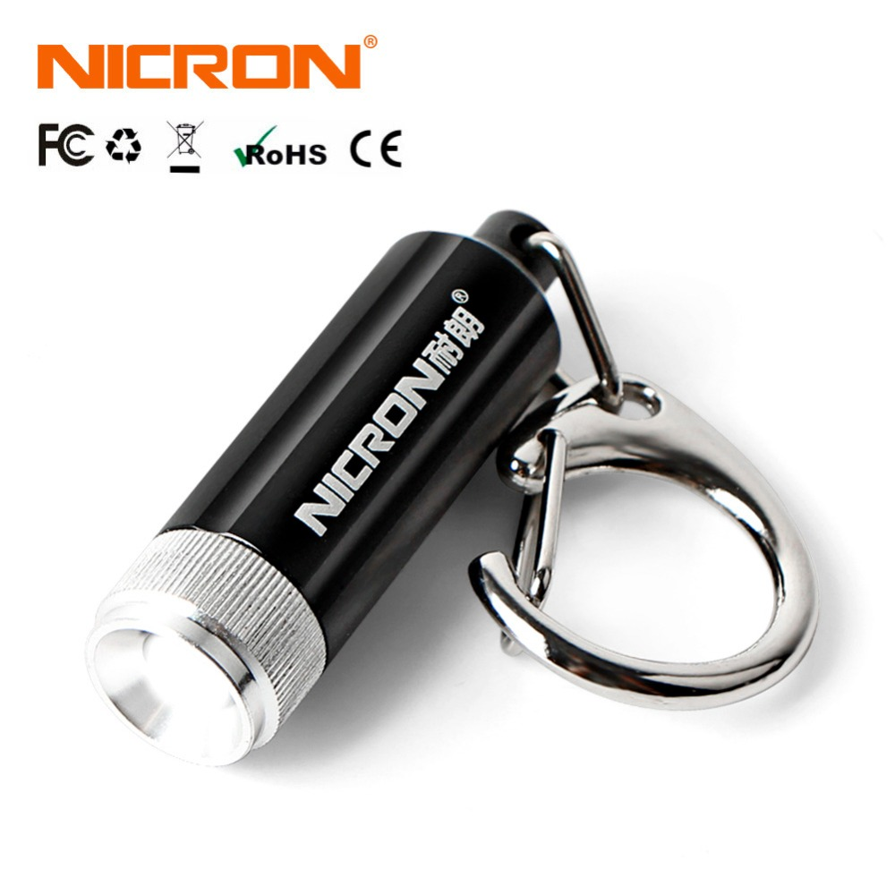 NICRON Micro Key Chain Led Flashlight 10LM 50CD Waterproof Super Mini Lamp Torch Light Pocket 36*11mm Outdoor For Camping G10A2
