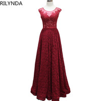 Burgundy Long Sleeve Lace Evening Gowns 2017 Elegant Sexy V-Neck Formal Mother Of The Bride Dresses For Weddings