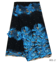 Nigerian Lace Fabric 2019 High Quality 3d Lace Fabric Wedding African Blue Petals With Beads Nigerian French Lace Fabric 801