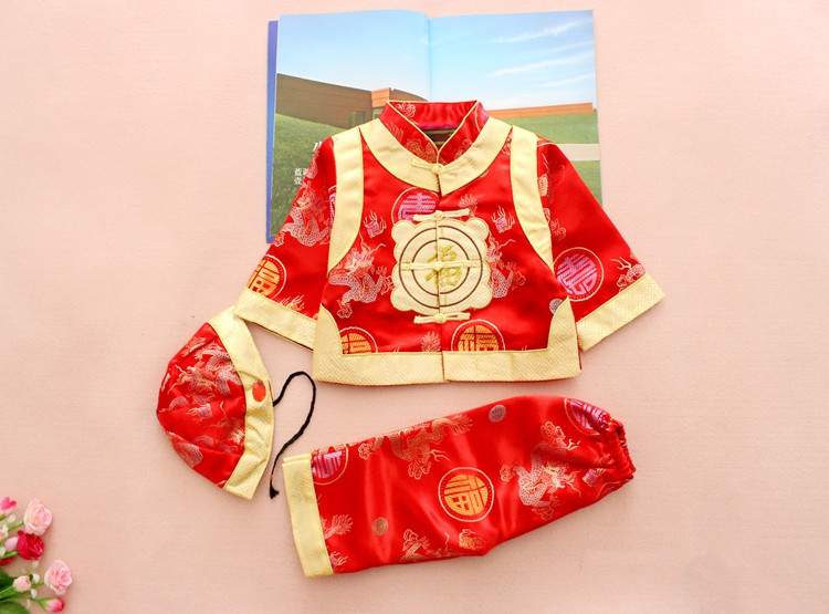 ФОТО 3 pieces!New Chinese style Spring winter Girl boy baby Brand FU Cheongsam kid Costume tangzhuang children set birthday cloth