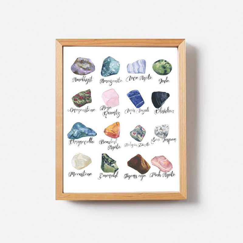 Gemstones Minerals Wall Art Print , Crystals Watercolor Semi Stones Geology Decor Gems Science illustration Painting