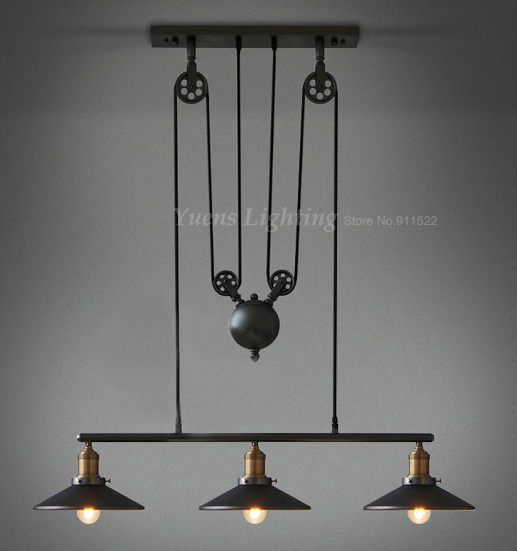 Loft vintage pendant lights Iron Pulley Lamp Bar Kitchen Home Decoration E27 Edison Light Fixtures Free Shipping permo industrial pendant lights loft vintage hanglamp iron pulley pendant lamp bar kitchen e27 edison light fixtures 1 2 3 heads