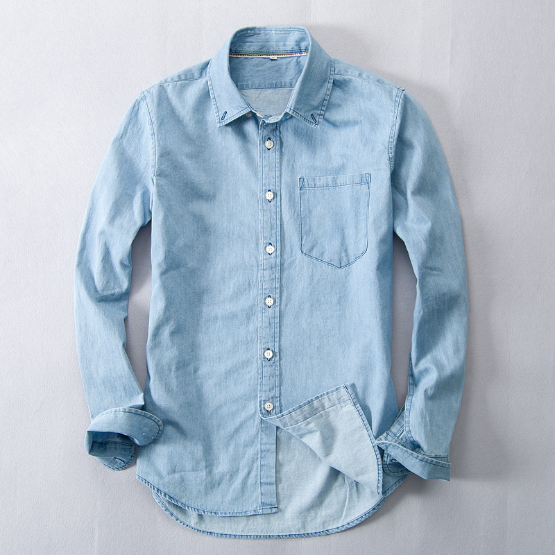 Helisopus Blue Washed Denim Men's Shirt Long Sleeve Men Cotton Vintage Shirt Single Breasted Street Wear Camisa Hombre