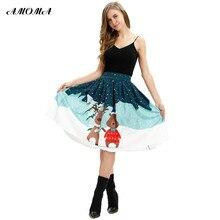 AMOMA Women 3D Print Ball Gown Casual Colorful Xmas Skirt Christmas Snow  Deer Bear(China 4b9999d24517