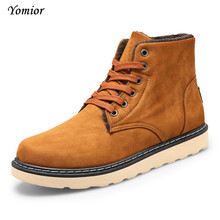 Yomior Luxury Brand Fashion Men's Winter Snow Boots Ankle Thick Plush Warm Lace-Up Cow Suede Causal Shoes Outdoor Man Sneakers