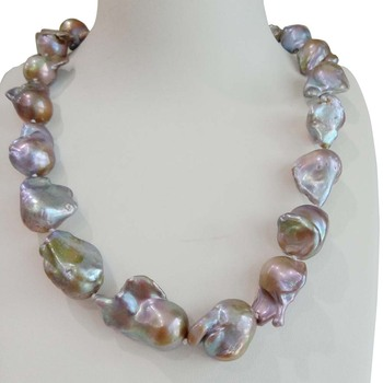 100% NATURE FRESHWATER Baroque PEARL NECKLACE-15-19 MM big PURPLE  pearl NECKLACE-IN Violet COLOR-49-120 CM