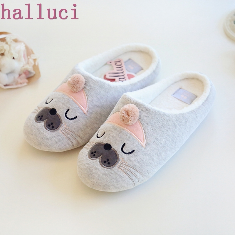 Cute Animal Pattern Cotton Home Slippers Women Indoor Shoes For Bedroom House Warm Winter Soft Bottom Flats giraffe animal pattern kids slippers home slippers children for girls house indoor shoes warm winter bedroom baby boys shoes