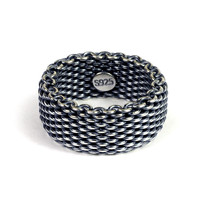 Antique Silver 925 Weave Links Ring Men 1.0cm Soft Chain Band Pure 925 Sterling Silver Mens Ring Simple Cool Thai Silver Jewelry