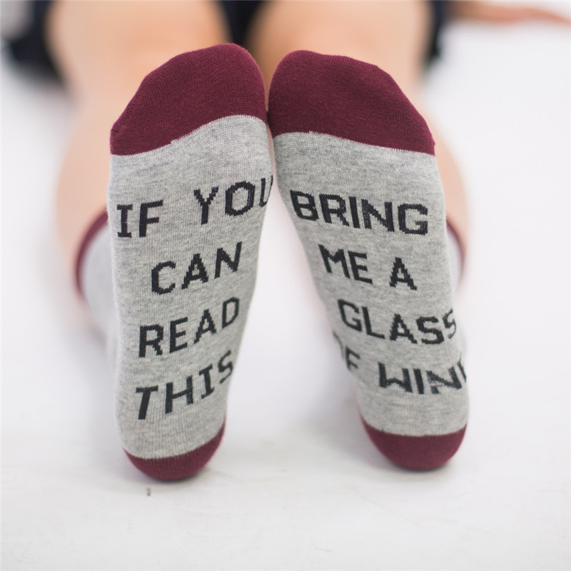 20pair/lot 2017 Fashion Women Man If You can read this Bring Me a Glass of Wine Socks for Xmas Gift 15 Style One Size