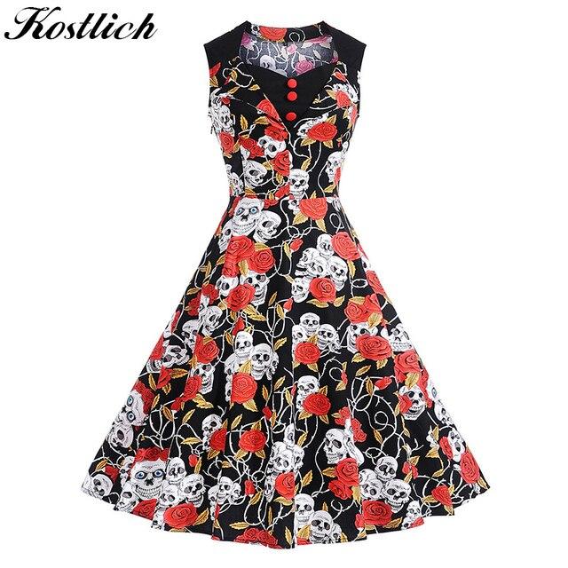 f9f657f75e6f Kostlich Skull Head And Rose Print Summer Dress Women 2018 Cotton Sleeveless  Vintage Dress 50s Button